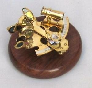 Nautical Marine Navigation 3 Brass Sextant W 5 Wood Pedestal Base Paperweight