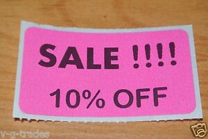 Lot 100 Pink Sale 10 Off Price Labels Stickers Tags Retail Store 2x1 Inch