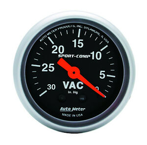 Auto Meter Sport Comp Mechanical Vacuum Gauge 2 1 16 30 In Hg 52mm