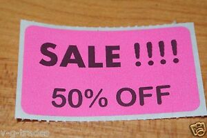 Lot 200 Pink Sale 50 Off Price Labels Stickers Tags Retail Store 2x1 Inch