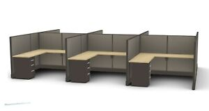 6 Person 8 X 8 L Shaped Desk Workstation Cubicles Office Furniture Many Colors