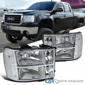 07 13 Gmc Sierra Clear Chrome Replacement Headlights Headlamps Left right Pair