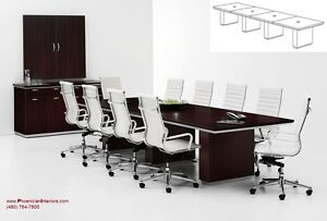 18 Foot Modern Conference Table With Grommets And 16 High Back Chairs Set