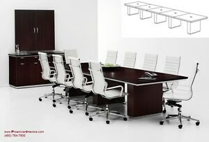 20 Foot Modern Conference Room Table With Grommets And 18 High Back Chairs Set