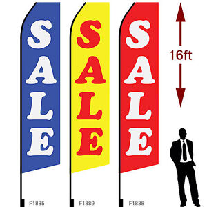 3pcs 16ft Outdoor Advertising Flags With Pole Set Ground Stake sale