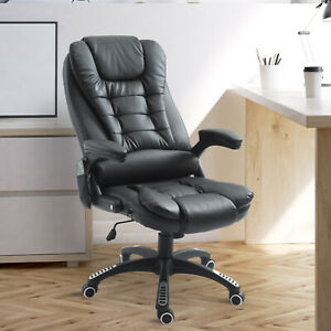 Heated Massage Executive Office Chair High Back Swivel Desk Chair Black