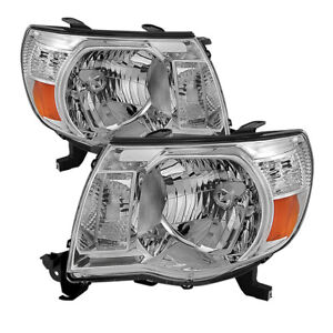 Toyota 05 11 Tacoma Chrome Housing Replacement Headlights Set Base Pre x runner