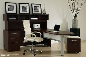 L Shaped Desk And Hutch Desk Set Office Benching Systems Furniture 4 Colors