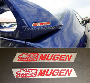 For Honda Mugen Red Spoiler Emblem Badge Logo Sticker Civic Si Trunk 2 Pieces