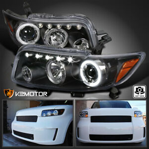 For 2008 2010 Scion Xb Led Halo Projector Headlights Black Replacement Pair