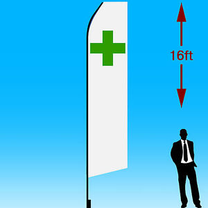 16ft Outdoor Advertising Flag With Pole Set Ground Stake green Cross