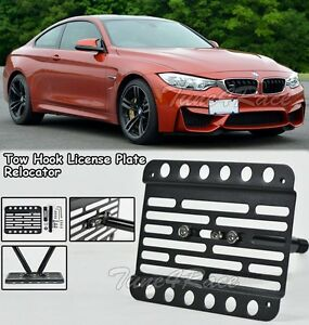 For 15 Up Bmw M4 F82 F83 Front Tow Hook License Plate Bracket Relocator Mount