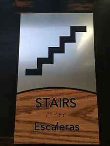 Stair Ada Signs Custom Brushed Metal English Spanish