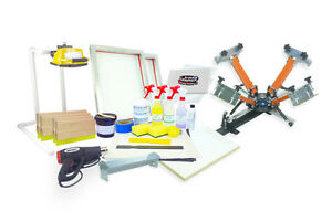 Screen Printing Press 4 Color 1station Heat Gun Exposure Unit Equipment Kit