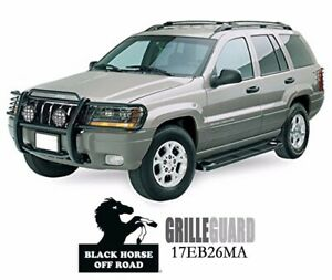 Fits 99 04 Jeep Grand Cherokee Black Grille Guard By Black Horse 17eb26ma