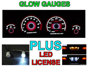 Type R Style Red Glow Gauge Led License Bulbs For 1994 2001 Acura Integra Gs R