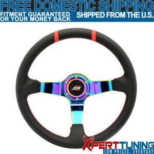 Universal 350mm Black Cf Look Leather Neo Spoke Racing Steering Wheel Jdm Emblem