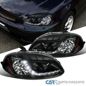 For Honda 96 98 Civic 2 3 4dr Black Projector Headlights Head Lamps W Led Drl