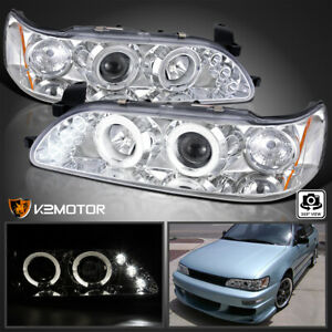 Fits 1993 1997 Toyota Corolla Halo Led Projector Headlights Left Right
