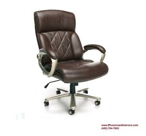 Extra Large Big And Tall Executive Chair 400 Lbs Weight Capacity Brown Leather