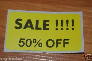 Lot 100 Yellow Sale 50 Off Price Labels Stickers Tags Retail Store 2x1 Inch