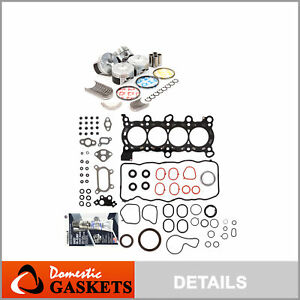 Fit 06 09 Honda Civic 1 8 Sohc Full Gaskets Pistons Bearings Rings Set R18a1