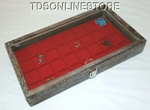Rustic Coffee Color Glass Top Display 32 Slot For Jewelry Etc Red