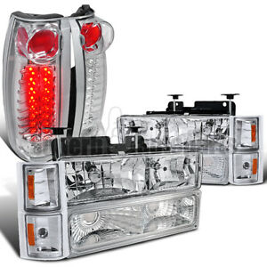 1994 1998 Chevy Silverado Headlight corner Bumper Lamp led Tail Lights Chrome