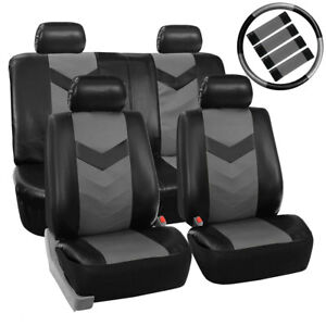 Black Gray Pu Faux Leather Car Seat Cover Set Headrests Steering Wheel Full Set