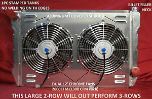 Universal Radiator Chevrolet Gm Cross Flow Shroud Dual 12 Fans 31 X 19