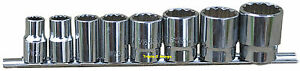 Whitworth 1 2 Drive Socket Set On Rail 8pc Chrome Vanadium