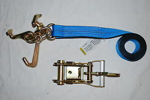 8 Blue Rtj Frame Cluster Hook Ratchet Straps Fixed Snap Hook Trailer Tie Down