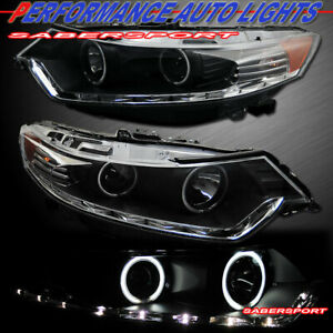 Set Of Black Headlights W Dual Halo Rims Led Strip For 2009 2012 Acura Tsx