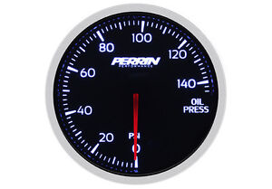 Perrin Performance Black Face Electric 60mm Oil Pressure Gauge 140 Psi