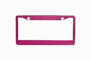Pink Crystal Rhinestones License Plate Frame 7 Rows Special Bling Offer