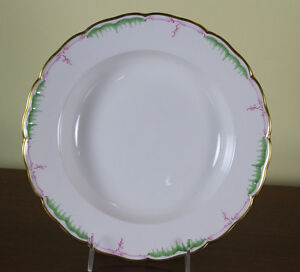 Collectors Cabinet Plate Hand Painted Green Pink Decoration