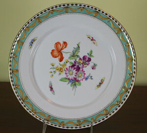 Collectors Cabinet Plate Hand Painted Multi Colored Flowers
