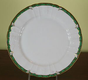 Collectors Cabinet Plate Hand Painted Green Border And Gold Rim