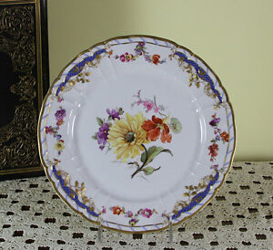Collectors Historic Cabinet Plate Hand Painted Multi Colored Flowers