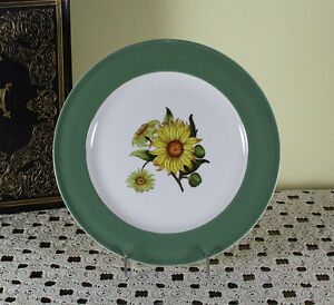 Collectors Cabinet Plate Plate Pastel Green Band With Sun Flower