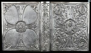 Rare 1900s Antique Spanish Sterling Silver Catholic Bible Book Cover 41 Oz