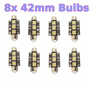 8x 42mm 3 Smd Festoon Interior Exterior Led Light Bulb Dome Lamp Courtesty 5050