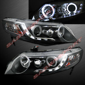Pair Black Halo Projector Headlights W Led Stripe For 2006 2011 Civic 4dr Sedan