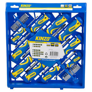 Kinzo 30pc Screwdriver Set Wall Mountable Case Magnetic Tip Phillips Slotted Bit