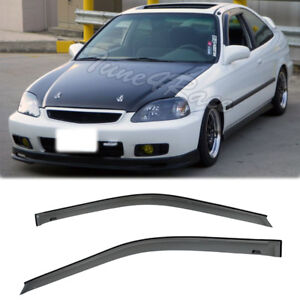 Fits 96 00 Honda Ek Civic Coupe Jdm Side Window Visors Rain Guards Deflector 2dr