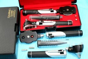New Led Mini Opthalmoscope Otoscope Fibre optic Diagnostic Set 2 Free Bulbs