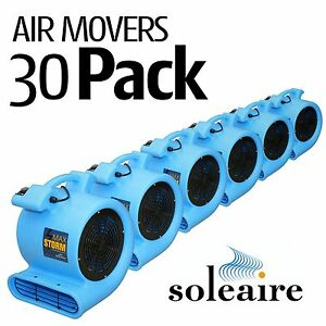 30 Pack Soleaire Blue Max Storm Air Mover Carpet Floor Blower Fan Water Damage