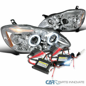 03 08 Toyota Corolla Chrome Halo Led Projector Headlights Lamps H1 6000k Hid Kit