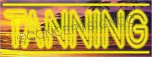 3 x8 Tanning Banner Large Outdoor Sign Bed Salon Spa Spray Tans Neon Look