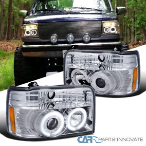 For Ford 92 96 F150 F250 F350 Bronco Led Halo Clear Projector Headlights Lamps